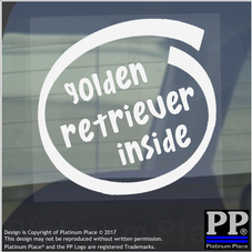 1 x Golden Retriever Inside-Window,Car,Van,Sticker,Sign,Adhesive,Dog,Pet,Board